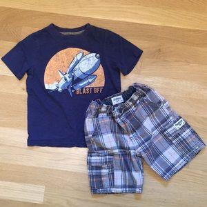 Short set: t-shirt & plaid shorts. Toddler boys 4t